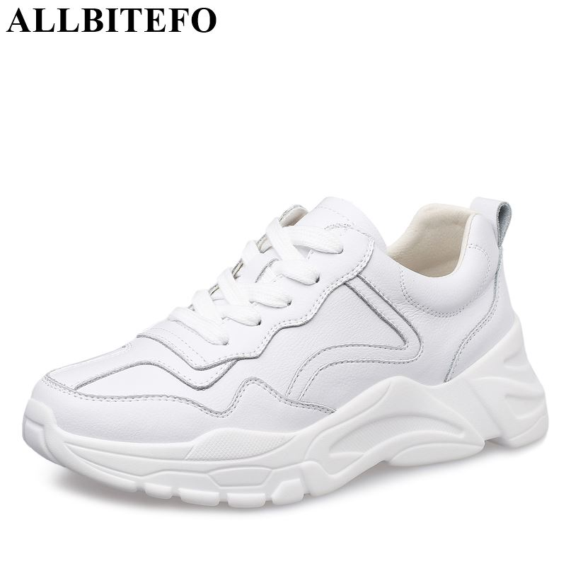 ALLBITEFO genuine leather fashion flat shoes solid round toe women flats sneakers shoes comfortable spring women
