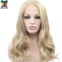 Волос SW длинные Для тела волна Синтетический Синтетические волосы на кружеве парик Мёд масло блондинка выделить смешанные Цвет высокое Температура Волокно для Белый Для женщин