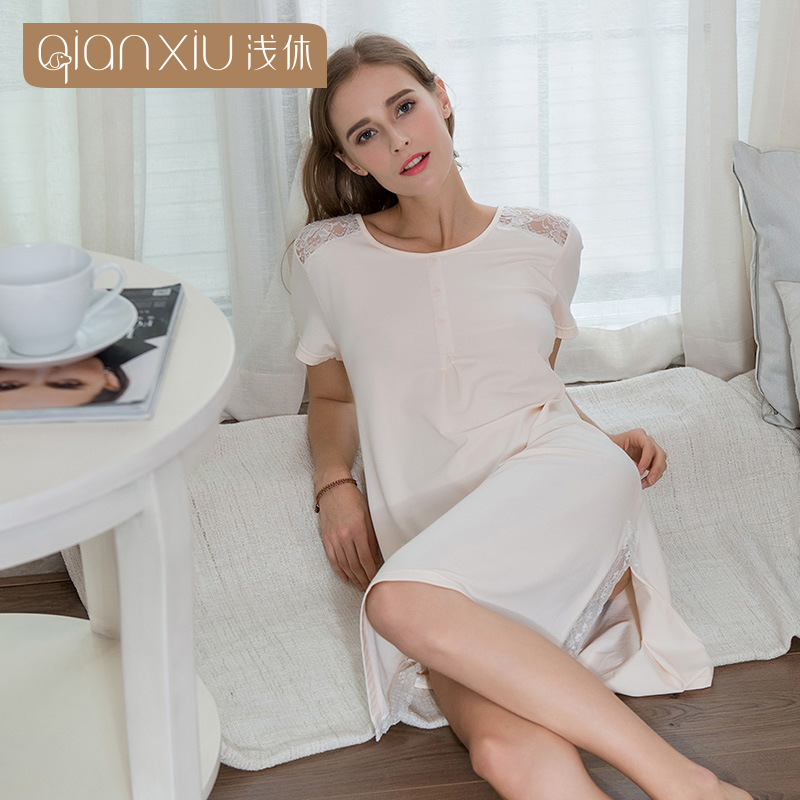 Qianxiu woman nightgown hollow out lace splicing round neck short sleeve  knit cotton solid color sleepwear 7f5fa3945