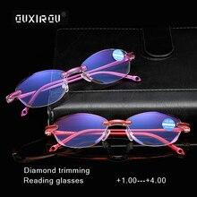 Fashion Rimless Reading Glasses Woman Diamond trimming Presbyopic Magnetic Eyeglasses +1.0 +1.5 +2.0 +2.5 +3.0 +3.5 +4.0 s801