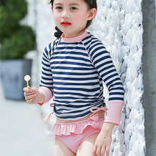 Girl Two Pieces Swimsuit For Hot Springs Striped Swimsuit Girl Toddler Baby Long Sleeve Sunproof Swimwear Children Kids Swimsuit