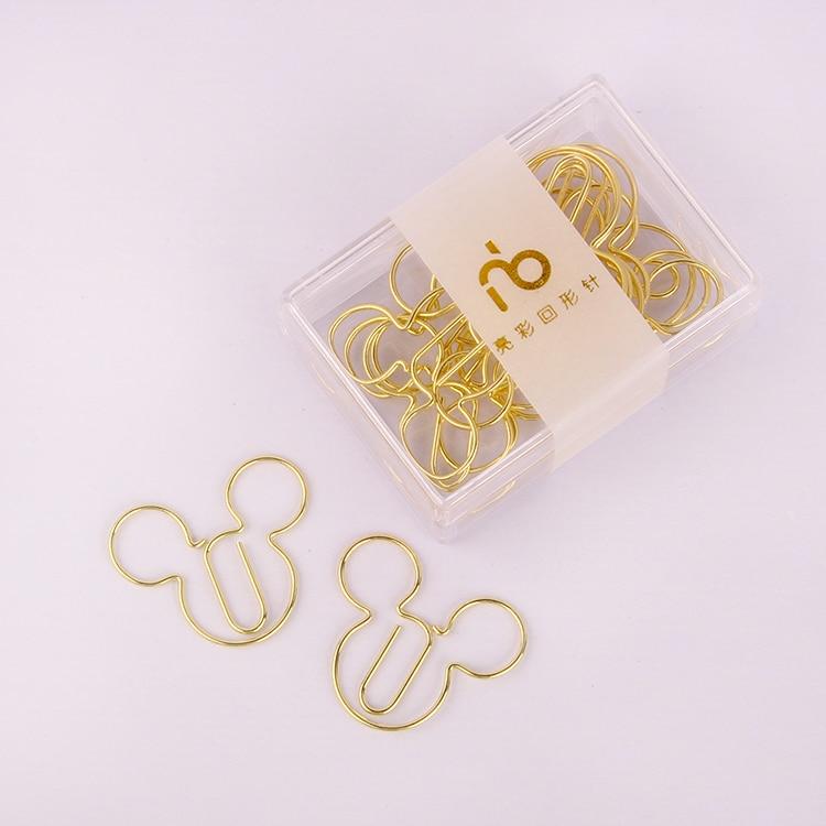 Cartoon paper Clip Creative Shape Clip Pin Lovely Pin metal Bookmark Accesorios De Oficina Paper Clips Gold