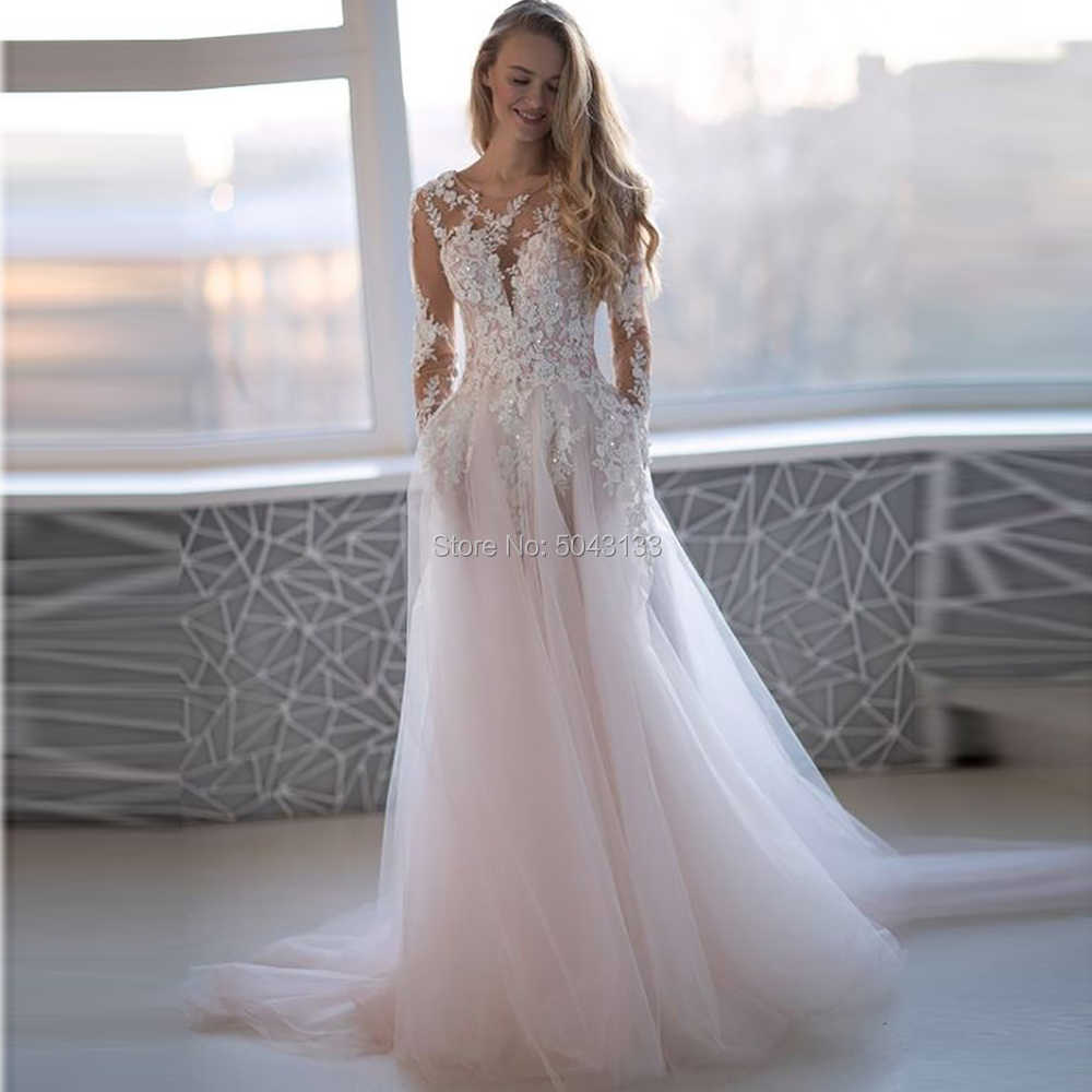 2021 אגלי Applique ארוך שרוולי חתונת שמלות Sheer סקסי O צוואר ורוד Vestido דה Noiva אורך רצפת כפתורים חזרה כלה שמלה