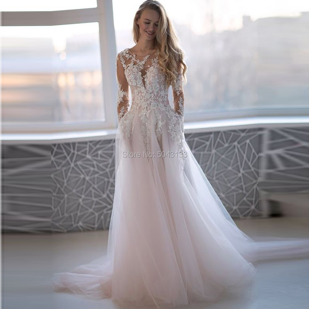 Beaded Lace Applique Long Sleeves Wedding Dresses Sheer O Neck Vestido De Festa Floor Length Buttons Back Long Bride Dress 2020