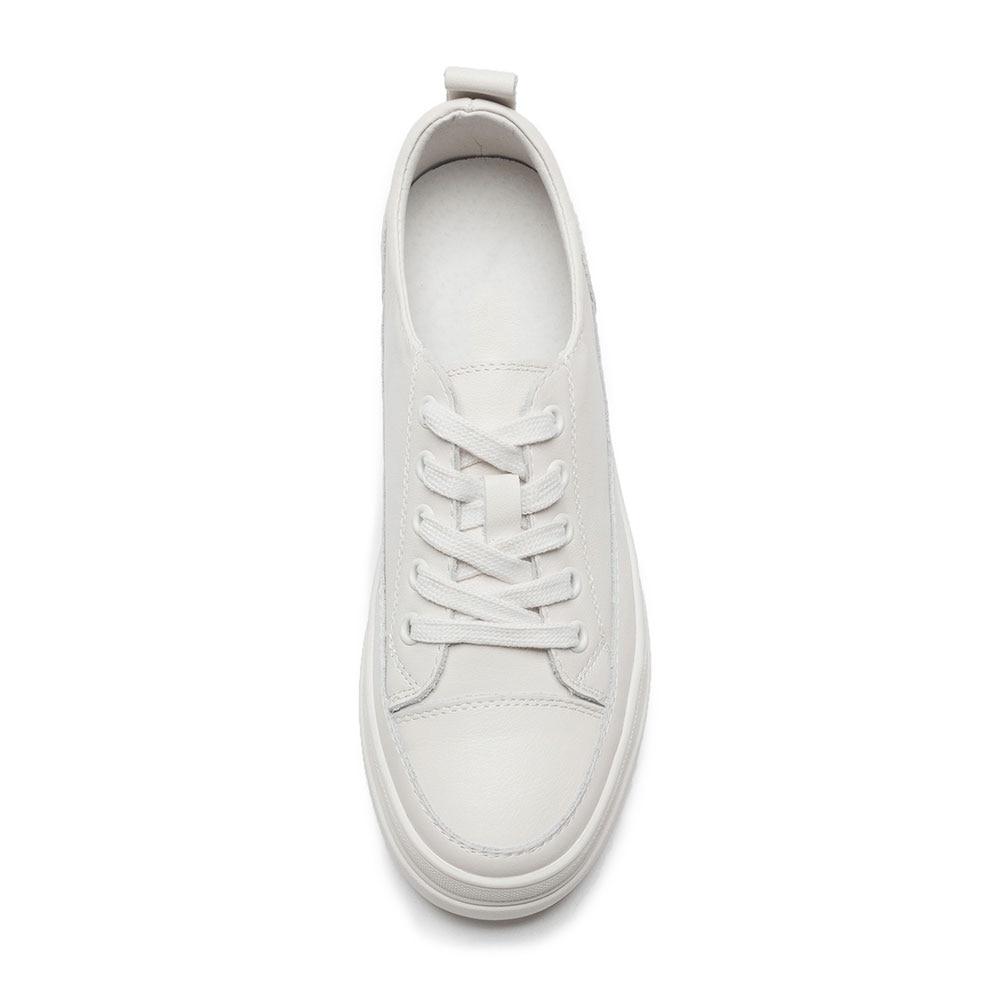 Mode Nouvelle Printemps Mezereon Casual Dames forme Sneakers Chaussures Blanc Cuir 2018 Pour Beige En Plate Véritable Appartements blanc Femmes qtwwdFRrE