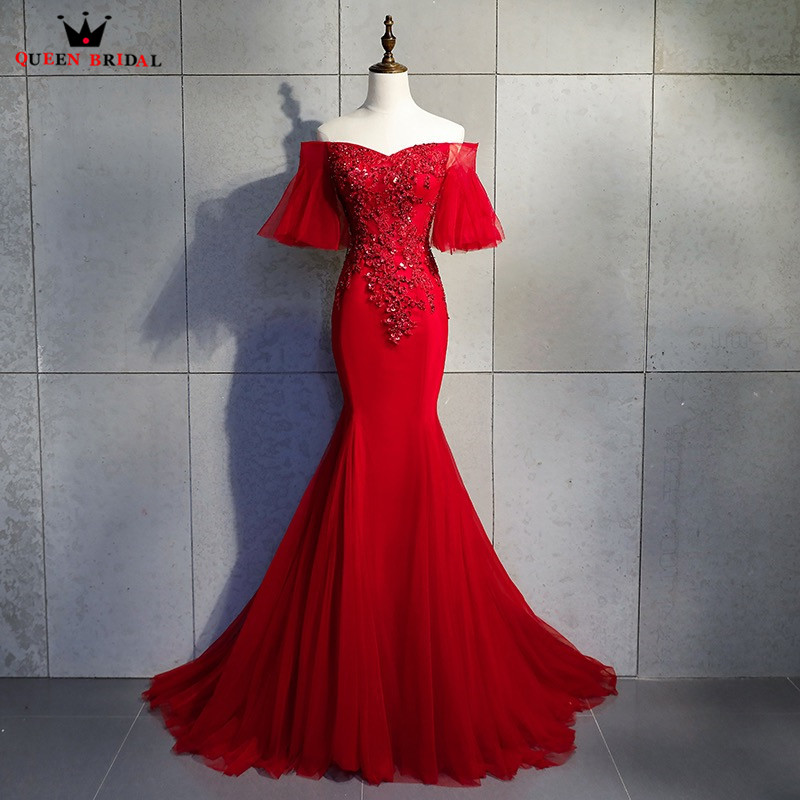 Mermaid Short Sleeve Tulle Lace Beading Sexy Wine Red   Evening     Dresses   2018 New Fashion   Evening   Gown Robe De Soiree MT16