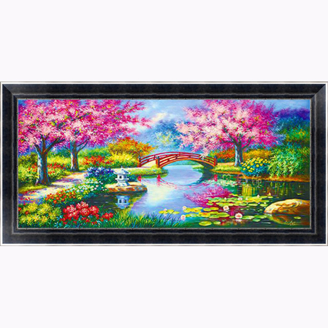 Aliexpress Buy 10050cm Lake Cherry Blossoms Landscape Cross Stitch Patterns Free Patchwork Round Diamond Painting Embroidery Full Crystal 2017