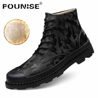 New Men boots Winter 2018 Fashion Men Ankle Boots Split Leather Men Work Boots Oxford Boots Camouflage Men Casual Shoes