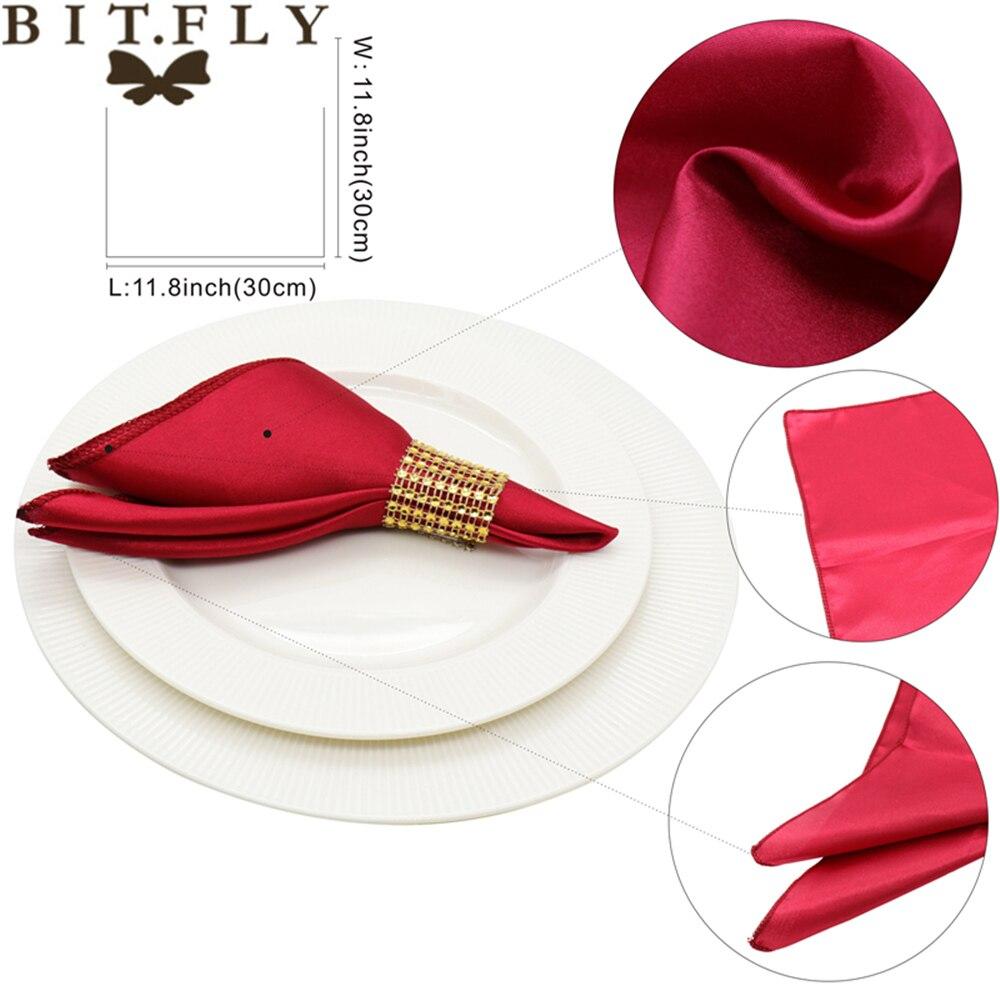 Купить с кэшбэком 50Pcs 30cm Table Napkins Cloth Square Satin Fabric Napkin Pocket Handkerchief for Wedding Birthday Home Party Hotel Gold White