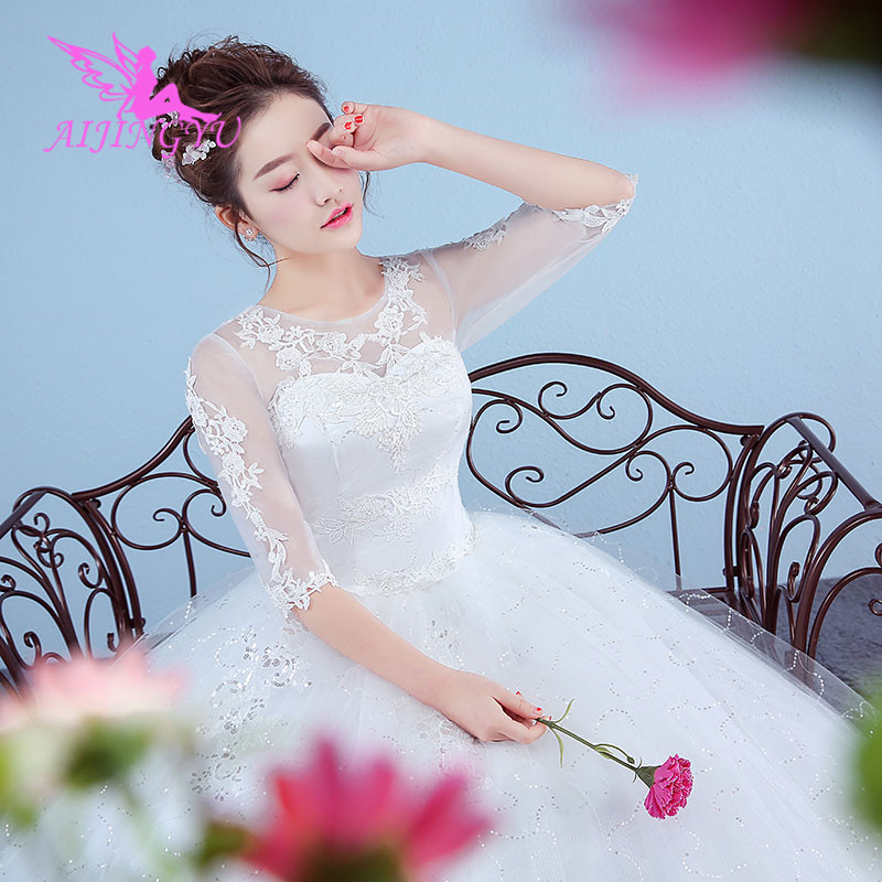 AIJINGYU 2018 Elegant Free Shipping New Hot Selling Cheap Ball Gown Lace Up Back Formal Bride Dresses Wedding Dress WK270