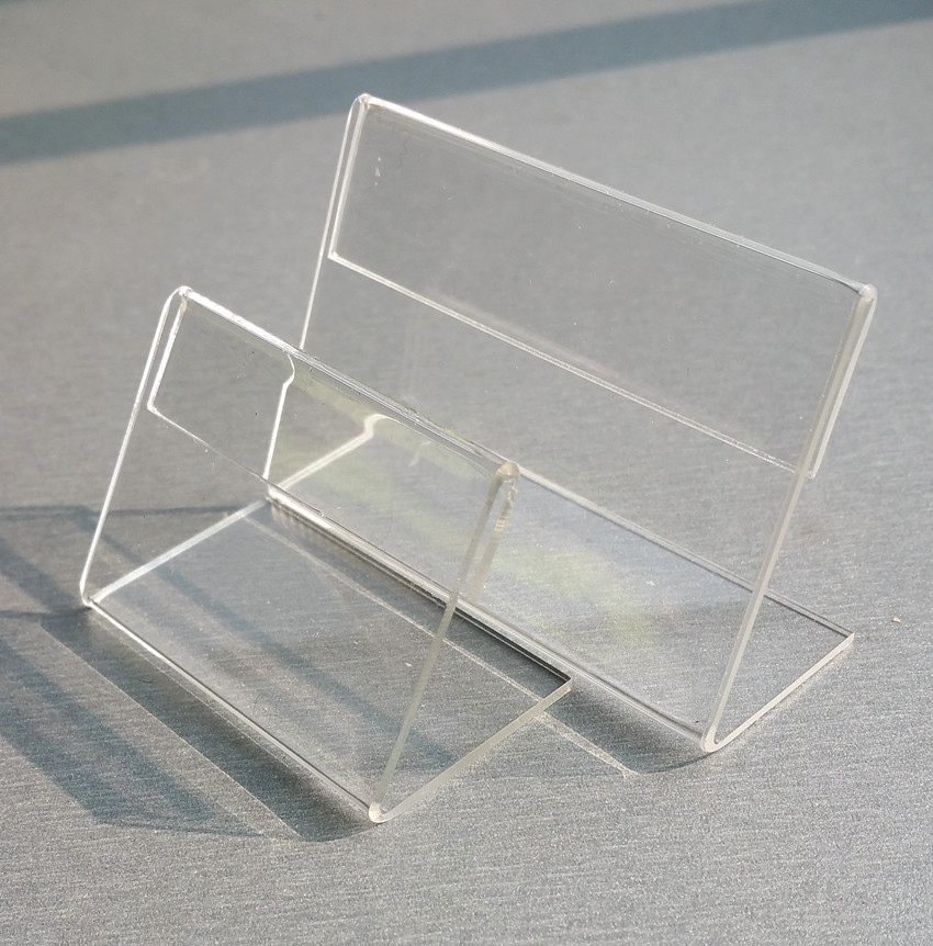 Clear Acrylic T1.3mm Plastic Table Sign Price Tag Label Display Paper Promotion Card Holders L Stand 40pcs On Countertop