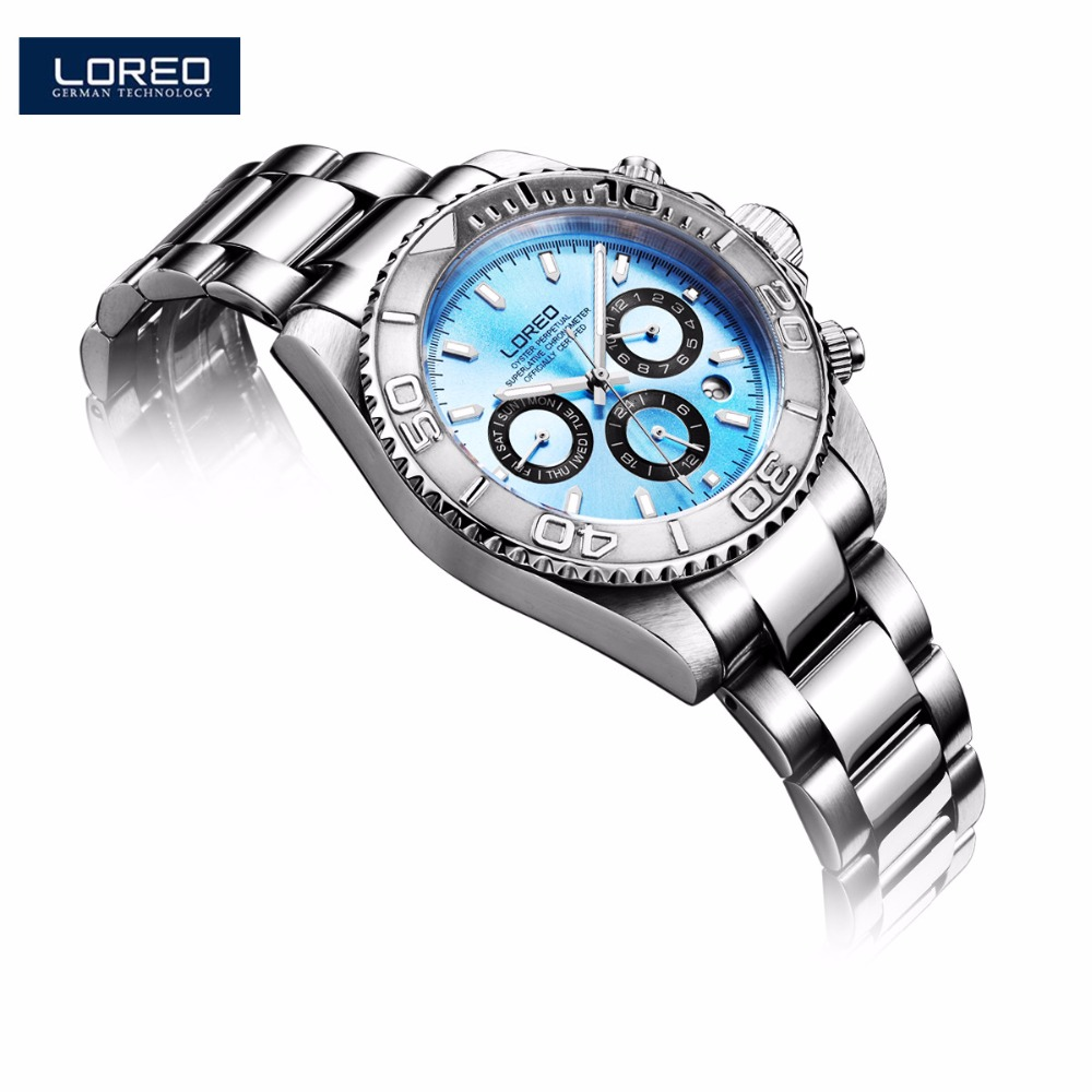 LOREO Men Mechanical Wrist Watch Watches Luminous Stainless Steel Luminous 200m Waterproof Diver Watch Montre Homme Saat K44 loreo s automatic fashion men s mechanical wrist watch waterproof stainless steel belt luminous chronograph diver watch ab2034