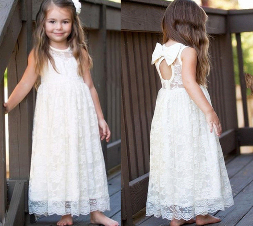 Lovely Cheap Flowers Girl Dress Open Back Full Lace Girls Birthday Gown with Bow Ankle Length White Ivory First Communion Dress pocket open shoulder split full length dress