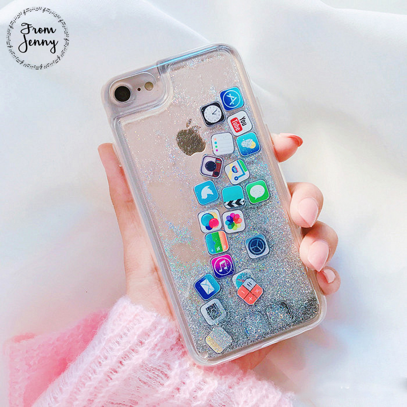 From Jenny Fashion Glitter Liquid Quicksand APP Logo icon Phone Case for iphone X 8 8plus 7 7plus 6 6plus 6 6S+ Clear Back Cover image