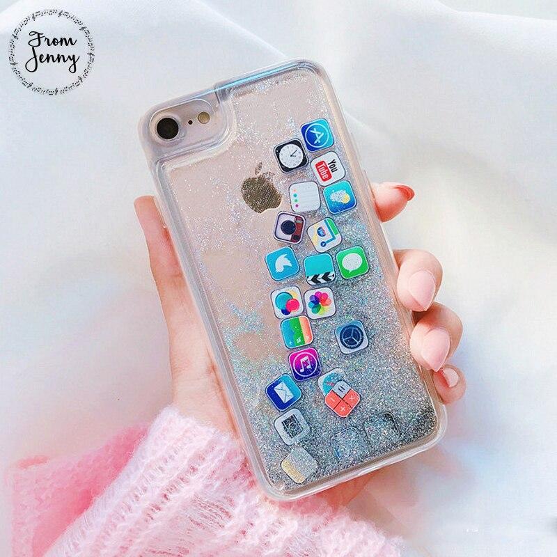 Von Jenny Mode Glitter Flüssige Treibsand APP Logo symbol Telefon Fall für iphone X 8 8 plus 7 7 plus 6 6 plus 6 6 S + Clear abdeckung