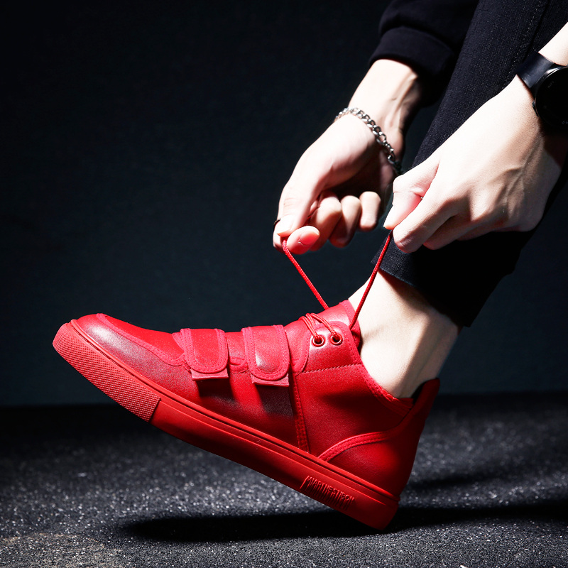 2018 New Men Casual Shoes Black Flat Male Walking Shoes Leather Fashion Sneakers Footwear Autumn Red Mens Rubber Shoes Black M5