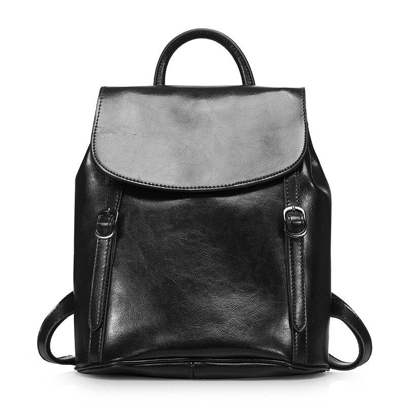 все цены на 2018 Top Genuine Leather Women Backpacks for Female Oil Wax Vintage Backpack Cowhide Ladies Flap Shoulders Bags Travel Bags онлайн