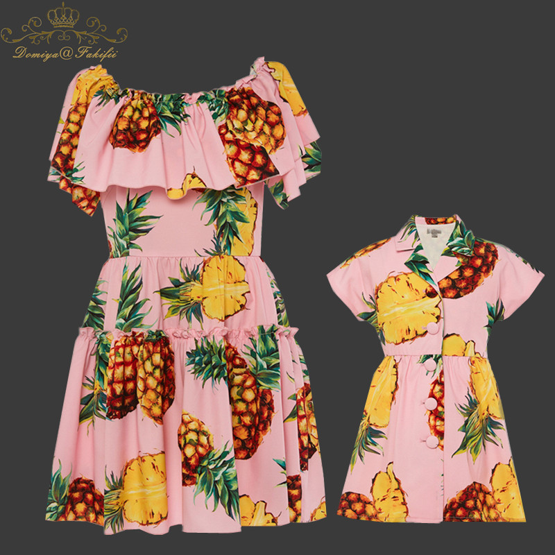 Mother Daughter Dresses Fashion Floral Print Short Sleeve Mommy And Me Clothes 2018 Family Matching Outfits Ankle-length Dress halter floral print pattern daughter dresses in green