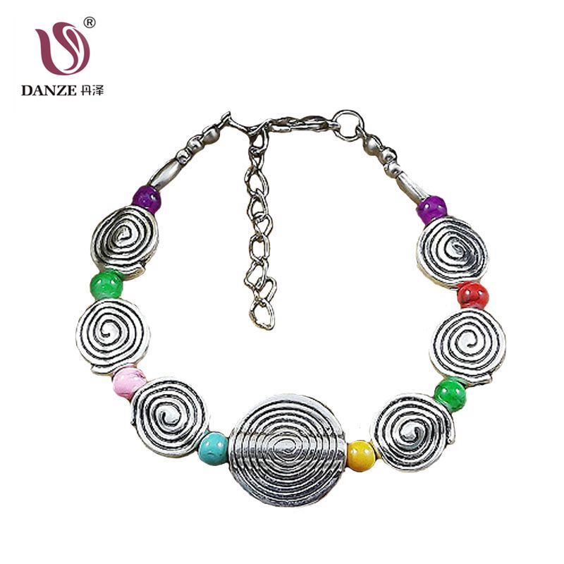 DANZE Alloy Adjustable Spiral Circle Rainbow Color Beads Bracelet Boho Original Charm Jewelry Party Gift For women Dropshipping