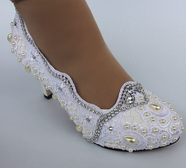 White laces wedding shoes woman handmade white ivory pearl bridal bridesmaid ladies party wedding dancing HS037 laces pumps shoe
