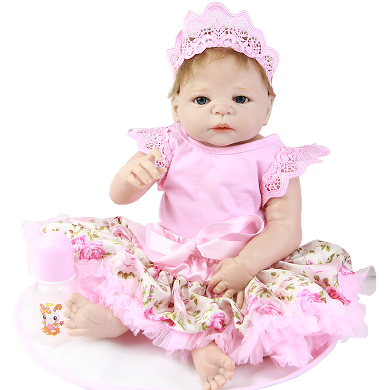 New Arrival Realistic 23'' Reborn Baby Dolls With Pink Skirt Full Silicone Vinyl Born Baby Girl For Sale Kids Plamate Birth Gift truly cute 57 cm full silicone reborn vinyl body dolls girl model 23 realistic new born baby dolls reborn kids christmas gifts