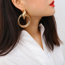 50 MM Big Gold Hoops Earrings Minimalist Thick Tube Round Circle Rings Earrings For Women Zinc Alloy Trendy Hiphop Rock(China)