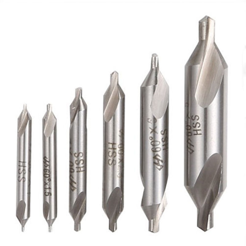 цена на 6 Pcs 60 Degree Bit HSS Combined Center Drills Countersinks Set Tool