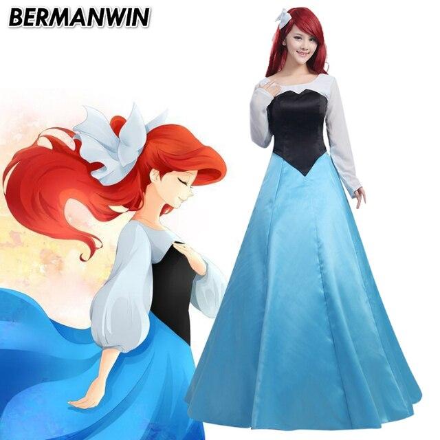 b3965b18d05 Bermanwin высокое качество Ариэль Костюм Русалочка Ариэль синее платье  Хэллоуин Косплэй костюм
