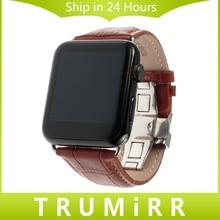 Ternero correa de piel genuina 22mm 24mm para iwatch apple watch 38mm 42mm Smartwatch Pulsera Banda con Adaptador de Enlace Negro Marrón rojo