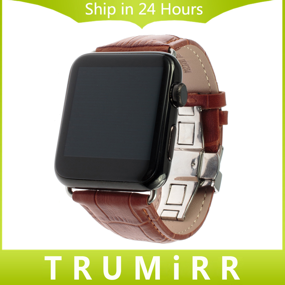 Calf Genuine Leather Strap 22mm 24mm for iWatch Apple Watch 38mm 42mm Smartwatch Band Bracelet with Link Adapter Black Brown Red