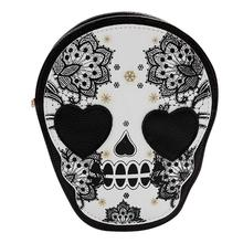 New PU Retro Skull Print Women Bags Shoulder Crossbody Bag Leather Handbag Messenger Designer Punk Mochila