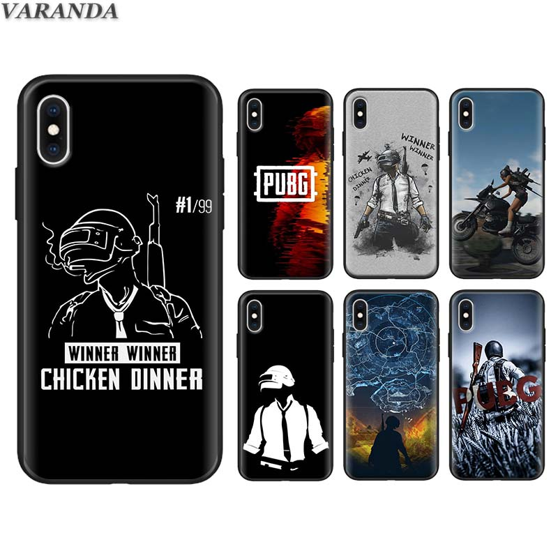 PUBG winner <font><b>chicken</b></font> dinner Silicone <font><b>Case</b></font> for <font><b>iPhone</b></font> <font><b>6</b></font> 6s Plus 7 8 Plus 5S SE X XR XS MAX Black Soft TPU Cover Coque image