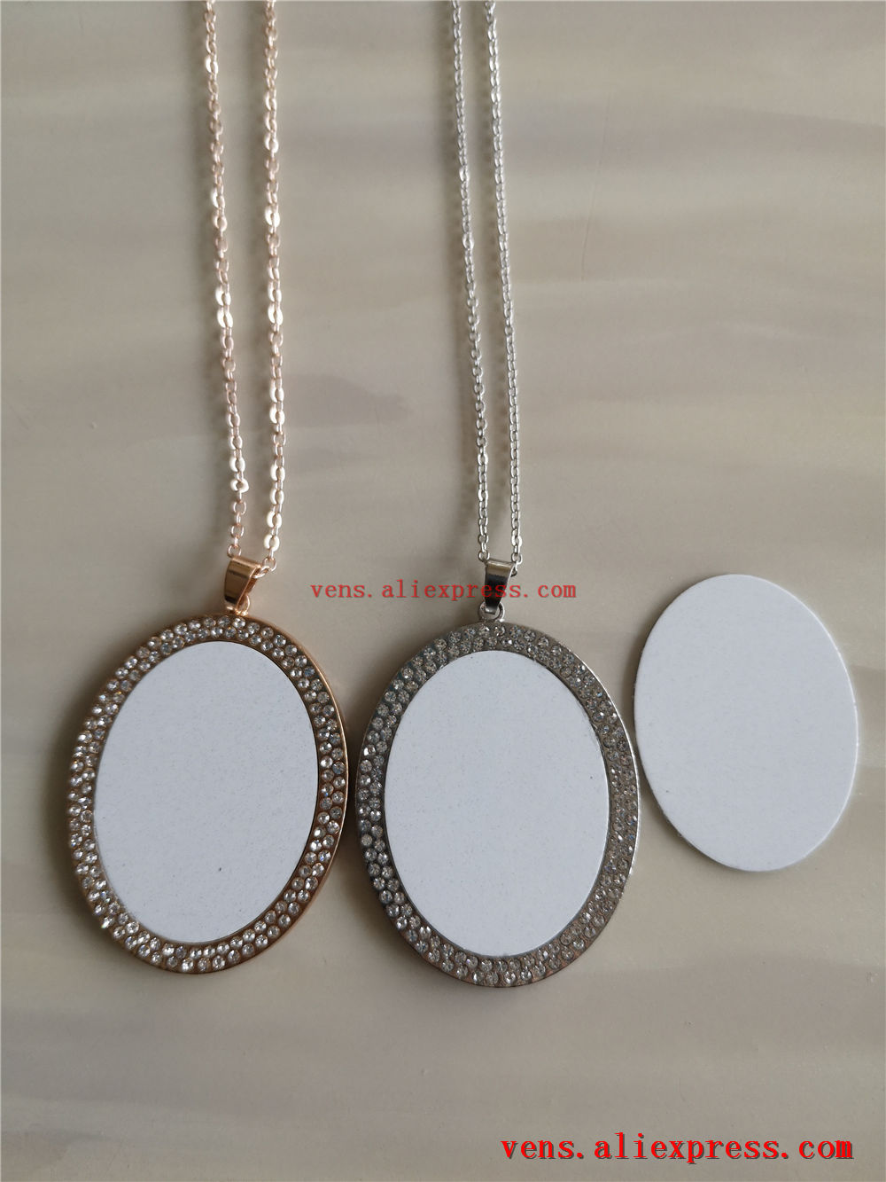 Image 5 - sublimation blank necklaces pendants with drill fashion ellipse oval shaped women necklace pendant jewelry 15pcs/lot-in Pendants from Jewelry & Accessories