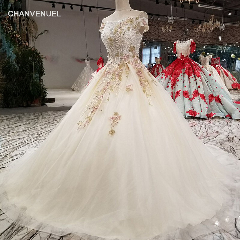 LS01574 elegant ball gown evening dress with color flower off shoulder boat neck beaded party dress with sequins for lovely girl