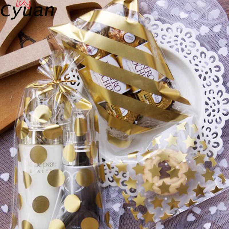 Cyuan 20 Pcs Món Quà Cưới Gói Túi Sinh Nhật Kẹo Túi Polka Dot Vàng Cookie Biscut Bọc Túi Nhựa Sinh Nhật Kẹo hộp