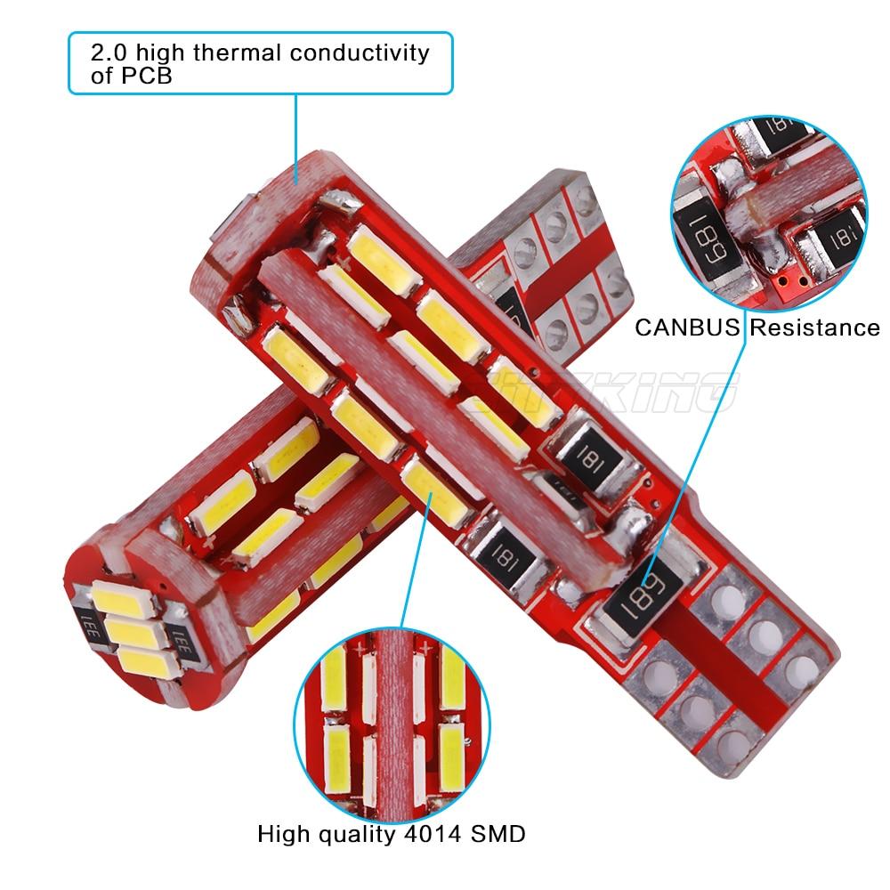 2PCS / LOT T10 led CANBUS LED 27smd 4014 SMD WHITE LIGHTTS ERRO FREE - Автомобилни светлини - Снимка 3