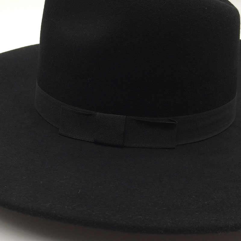 7423348ab QPALCR Unisex Vintage Wool Wide Brim Fedora Hat Men Chapeau Jazz Cap Women  Felt Autumn Winter Trilby Hats Black Gray Brown Khaki