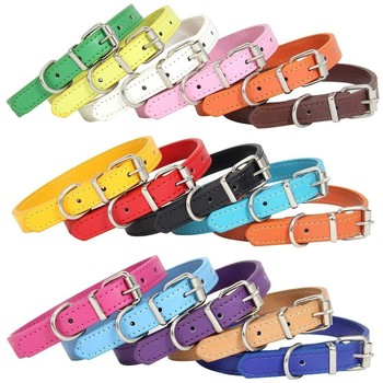 Wholesale Price 16 Colors PU Leather Dog Collar Soft Solid Adjustable Cat Neck Strap Puppy Collars for Small Medium Large Dogs pu leather solid soft colorful pet dog collar for small medium large dogs neck strap adjustable safe puppy kitten cats collar