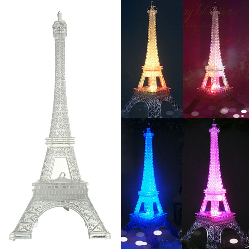 3D LED Night Light Eiffel Tower Illusion Night Lamp Color Changing Table Desk Lamps Led Light Multicolor Children Gifts