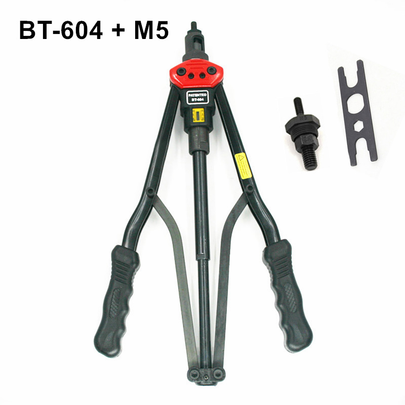 high quality 440mm 17 inch hand riveter pull rivet nut riveting tools with one die of M5 free shipping BT-604 auto remove nut 1pcs ergonomic hand squeeze pop rivet gun tool riveter poprivet