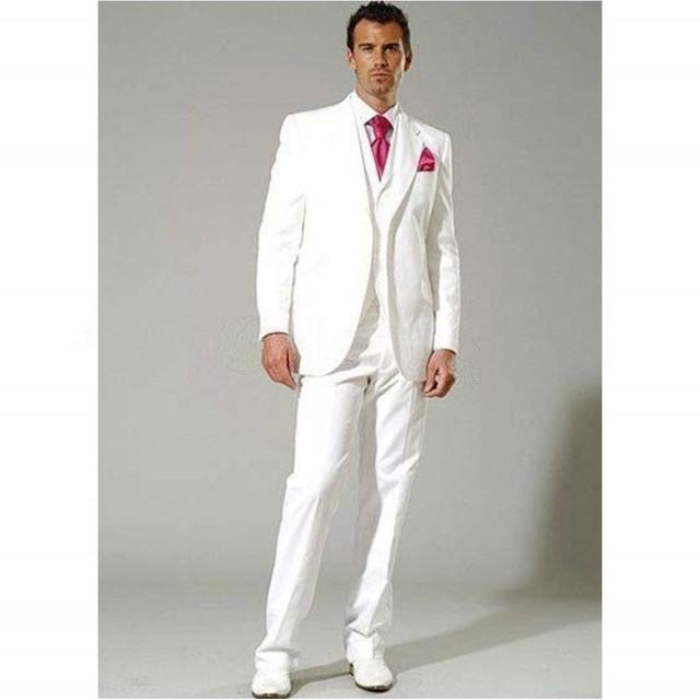 Venta Caliente Del Envío Libre de Marfil Muesca Solapa Esmoquin Del Novio Padrinos de Boda Hombres Wedding Trajes Prom Ropa (Jacket + Pants + + Vest + Tie)