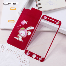 2pcs Front and Back Red Cute Cartoon 9H Full Screen Protector for iPhone 7 Tempered Glass Film for iPhone 7 Plus 3D Relief Guard