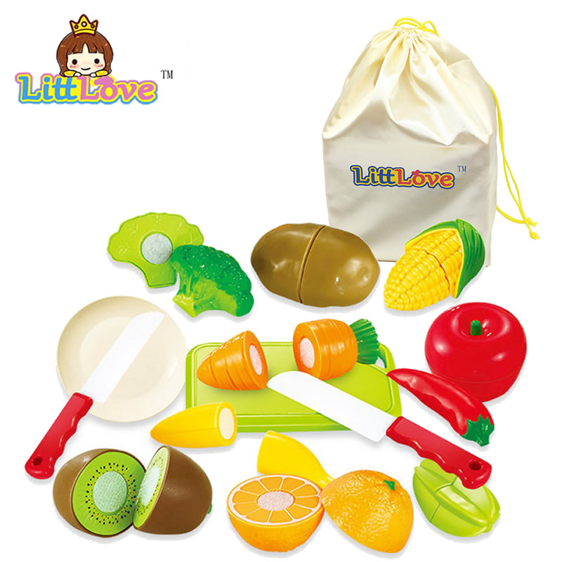 LittLove 14pcs/Set Plastic Kitchen Food Vegetable Cutting Kids Pretend Play Educational Toys For Children Cook Cosplay Gifts
