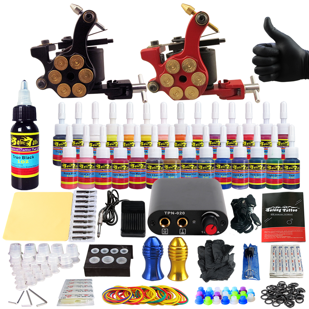 Solong Tattoo complete professional 2 tattoo Machine Guns set Tattoo Kit 28 Inks Needle Grips power supply TK204-18 europe god of darkness robert recommend gp self lock grips gp3 professional tattoo artist grip