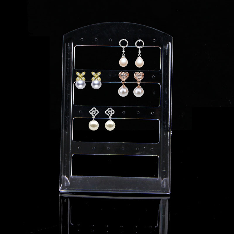 24 Holes Earring Jewelry Plastic Show Case Display Rack Stand Organizer Holder Jewelry Display Stand newest 40 50cm high grade linen rings display tray jewelry stand organizer ring holder show case