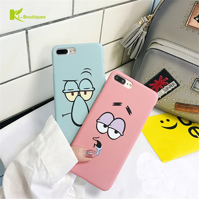 KL-BOUTIQUES Case For iPhone 5 5s 6 6s 7 Plus Fashion Lovely Cartoon Face Couple Cases Funny Slim Hard PC Back Cover Capa Coque