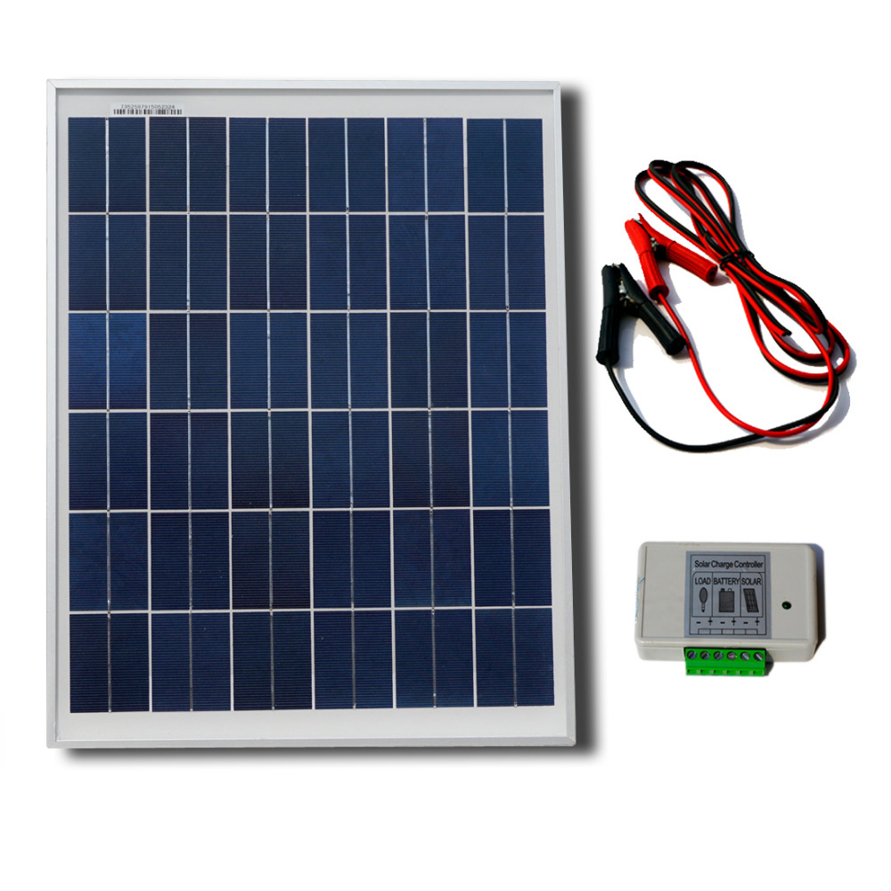 ФОТО Solar System with Poly 25W 12v Solar Panel  2m Extension Cable with Battery Clips Solar Generators