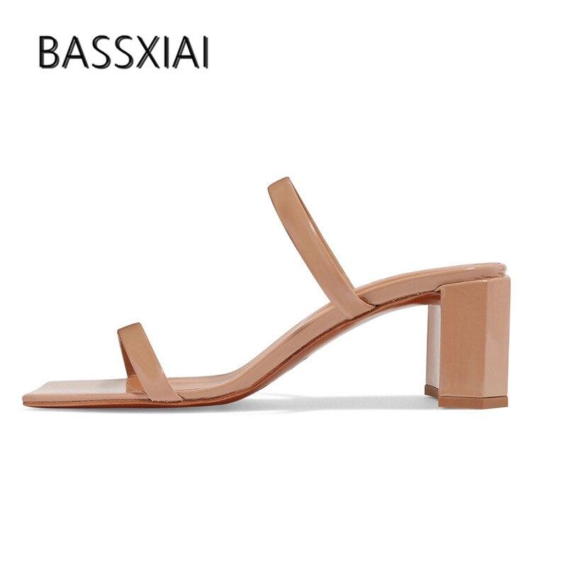 2019 本物の革のスリッパの女性オープントゥ 2 つのベルト奇妙な分厚い高靴女性のセクシーなグラディエーターサンダル  グループ上の 靴 からの スリッパ の中 1