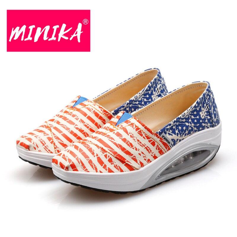 MINIKA 2017 Nueva Mezcla de Colores Rayas Mujeres Agitar Zapatos de - Zapatos de mujer - foto 4