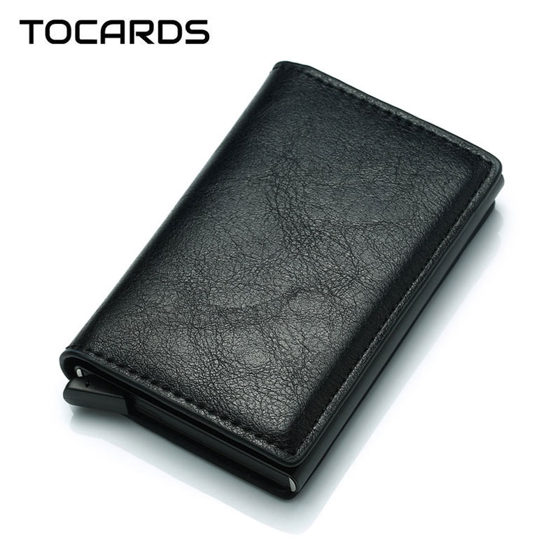 2018 New Business Credit Card Holder Men Multifunction Automatic Aluminium Alloy Leather Cards Case Men Mini Wallet Slim Purse